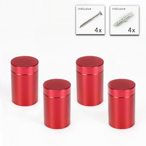 Alu Abstandshalter 19 x 25 mm in Rot - 4er Set