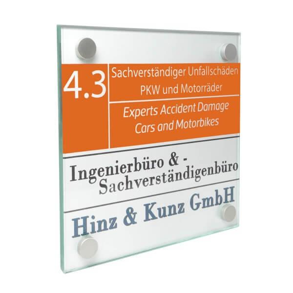 glas büroschild 15 cm