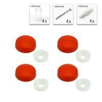 Schildbefestigung mit Distanzhülse Set Rot 13 mm