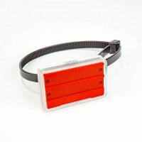 Rohrbeschriftung 55 x 36 mm in Rot mit Kabelbinder