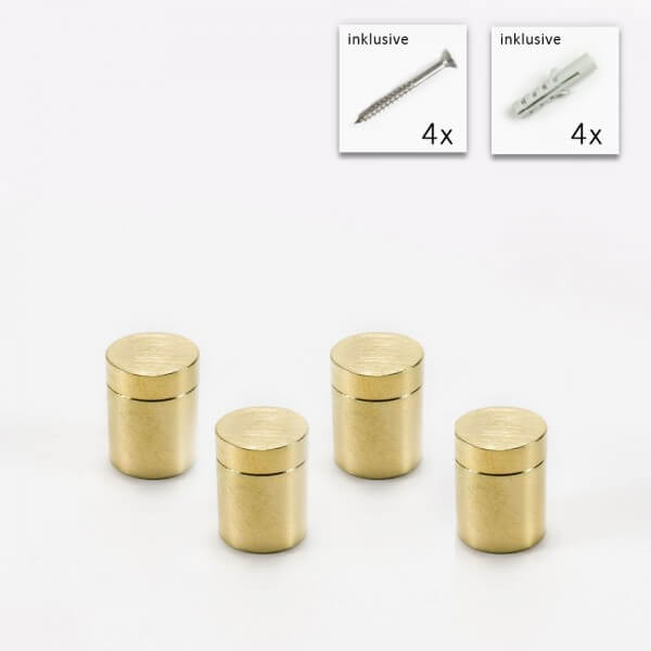 Messing Wandabstandshalter Gold 13 x 13 mm im 4er Set