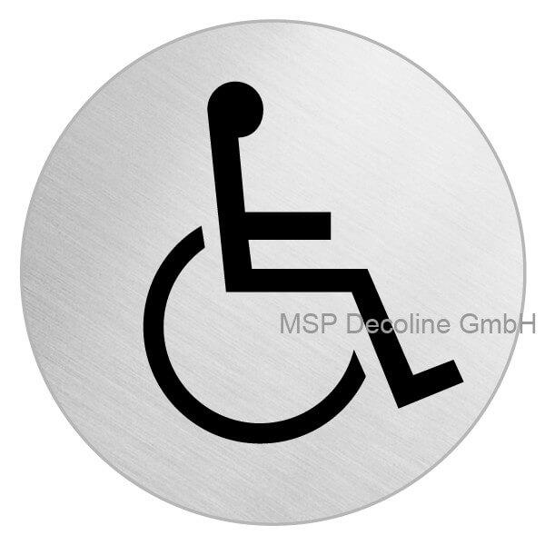 Piktogramm Behinderten WC Motiv 3 100mm Rund