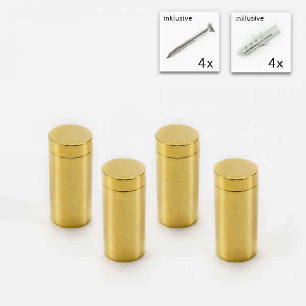 Messing Wandabstandshalter 13x25 mm, Gold im 4er Set