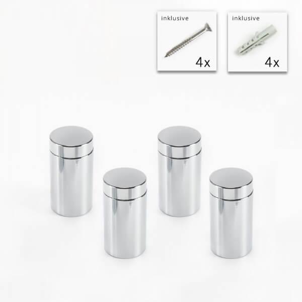 Alu Abstandshalter 13 x 20 mm poliert verchromt - 4er Set