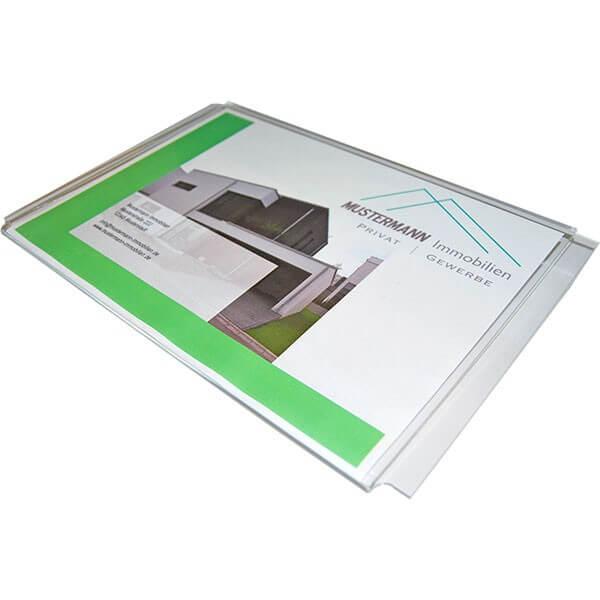 Acryltasche A4 Quer für Seilaufsteller System Silber Chrom