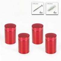 Alu Abstandshalter 19 x 25 mm in Rot - 4er Set