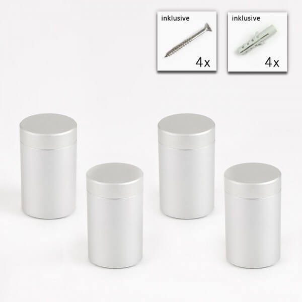 Alu Abstandshalter 20 x 25 mm in Satin - 4er Set