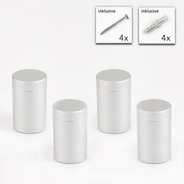Alu Abstandshalter 20 x 25 mm in Satin - 4er Set