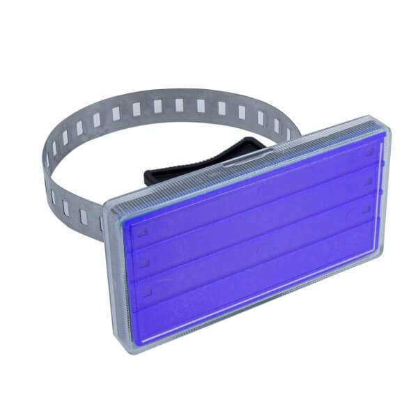 Rohrkennzeichnung mit Edelstahlband in Blau