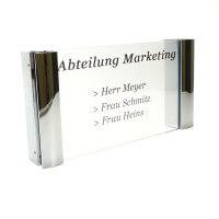 Acrylglas Büroschild mit Doppel Klemmbefestigung chrom - 120 x 210 mm