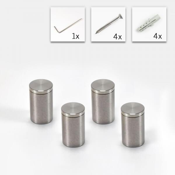 4er Set V2A Edelstahl Abstandshalter 10 mm x 15 mm