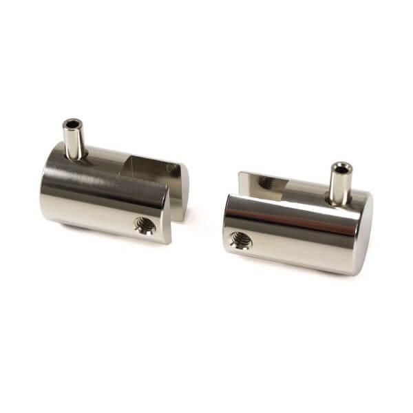 Plattenhalter, seitlich Messing Silber Chrom 16 mm - Seilsystem