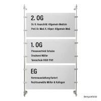 Stangensystem Set 3 mit 100 cm Länge aus Alu Satiniert für Schilder