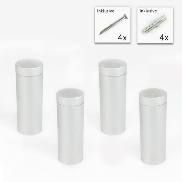 Alu Abstandshalter 20 x 50 mm in Satin - 4er Set