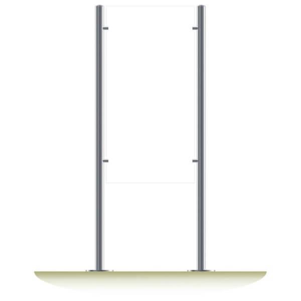 Edelstahl Standschild in 120cm Höhe