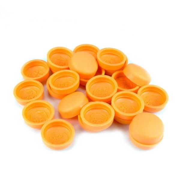 orangene Schraubenkappen