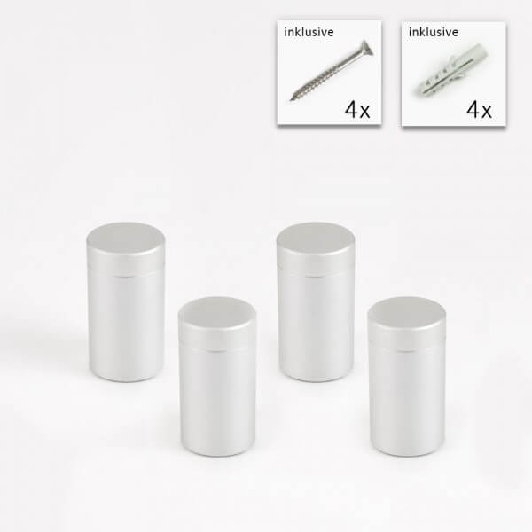 Alu Abstandshalter 13 x 20 mm in Satin - 4er Set