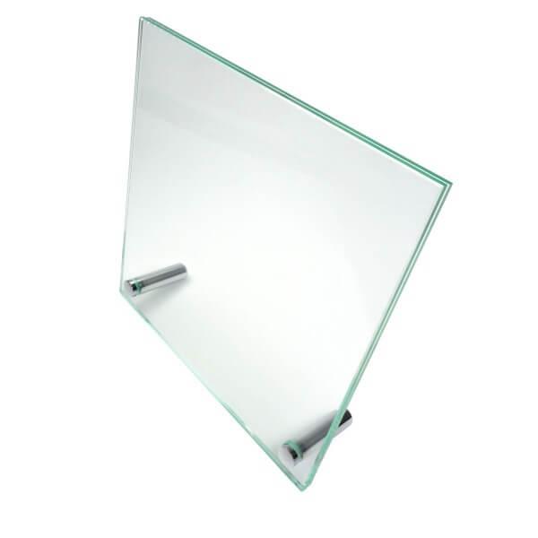 Echtglas Tischaufsteller 180 x 180 mm inkl. Chrom Aufsteller