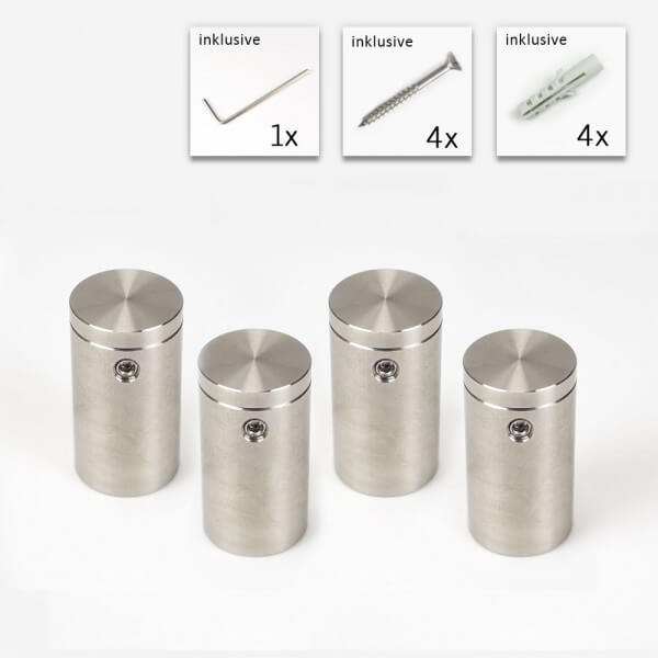 Edelstahl V2A Wand Abstandshalter im Set . 18 mm x 30 mm