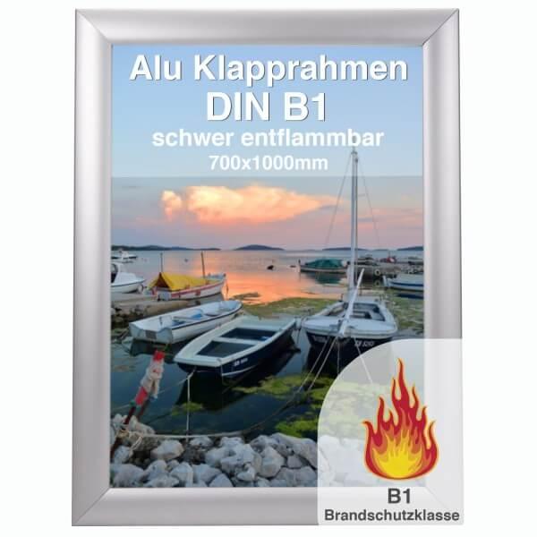 Alu-Klapprahmen schwer entflammbar DIN B1 - silber