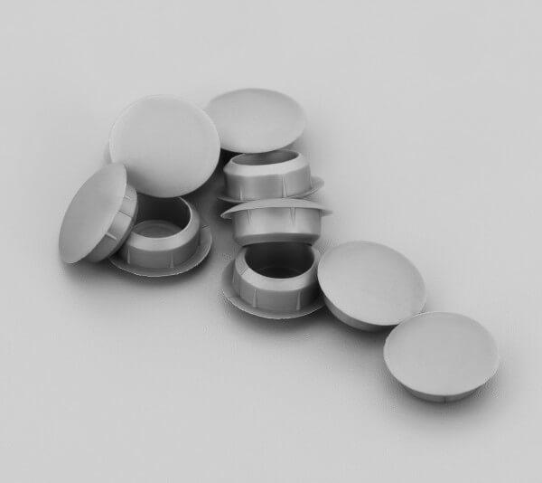 Bohrloch Abdeckkappe 10mm Silber Grau
