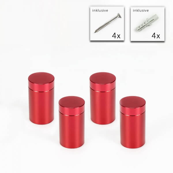 Alu Abstandshalter 13 x 19 mm in Rot - 4er Set
