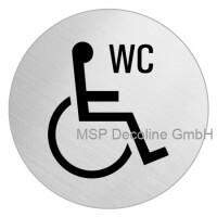 Piktogramm Behinderten WC 75mm Rund