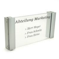 Acrylglas Büroschild mit Doppel Klemmbefestigung matt - 120 x 210 mm