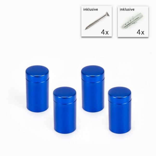 Blaue Alu Abstandshalter 4er Set - 13 x 19 mm