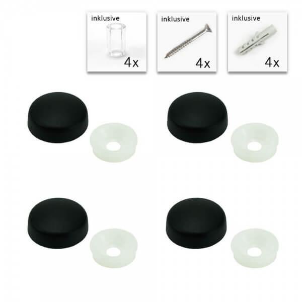 Schildbefestigung mit Distanzhülse Set Schwarz 13 mm