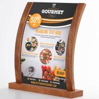 Gewölbter Holz Tischaufsteller mit Acryl-Poster Tasche DIN A4