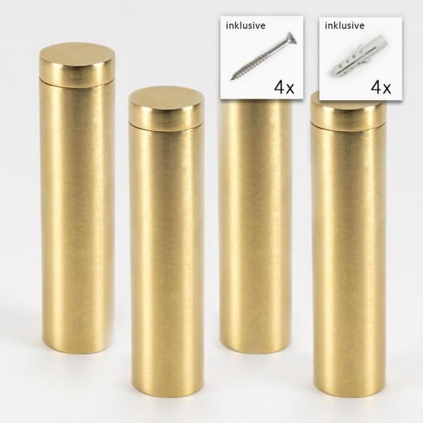 Messing Schild Befestigung 19x75 mm, gold im Set