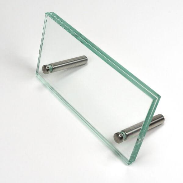 Namensschild Aufsteller Tisch aus Glas