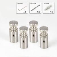 Doppelglas Halter 13 x 20 mm, PS 2 x 4 mm, V2A - 4er Set