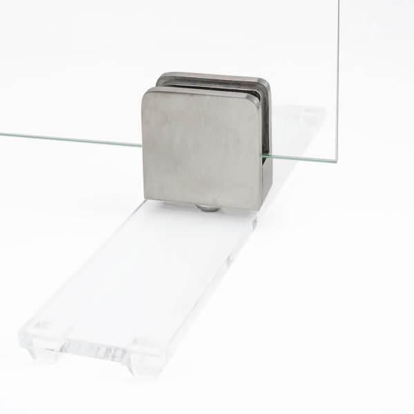 Edelstahl Aufsteller für Spuckschutz Transparent