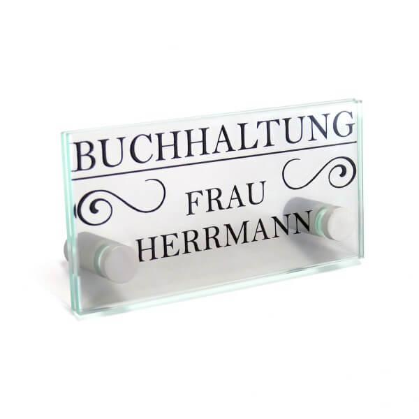 Büroschild aus Glas