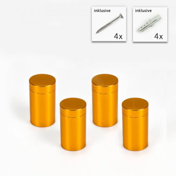 Aluminium Abstandshalter 13 x 19 mm in Gold - 4er Set