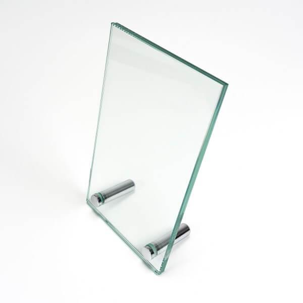 Menüaufsteller aus Glas