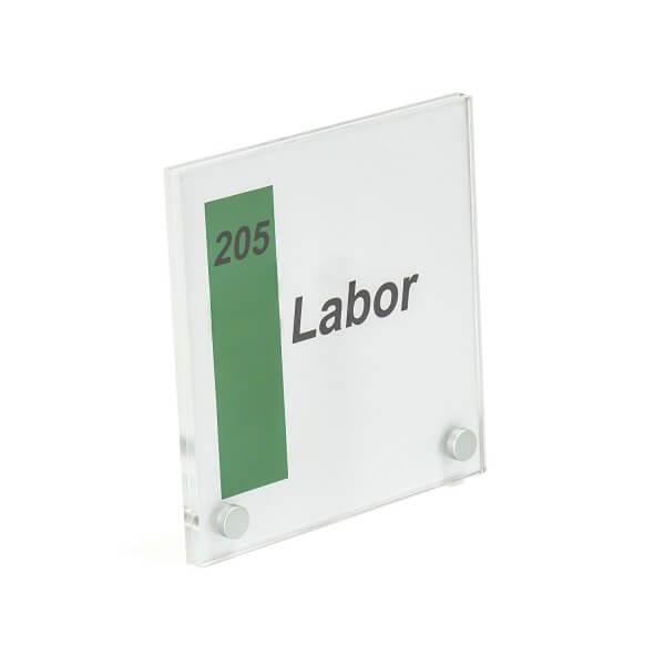 Plexiglas Türschild 180x180mm 2 Bohrungen Vorne