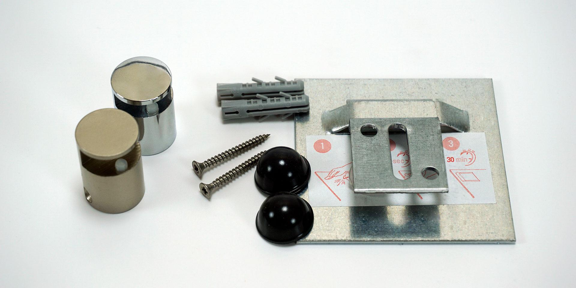 spiegelhalter zum kleben oder klemmen online kaufen. Black Bedroom Furniture Sets. Home Design Ideas