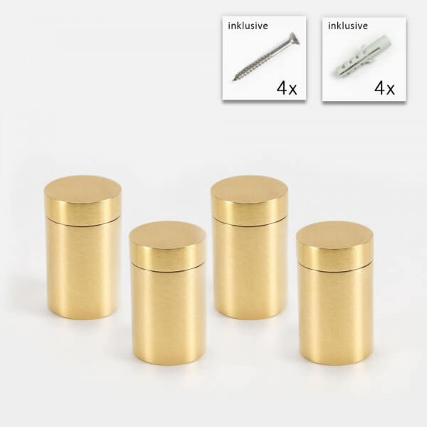 Messing Wandhalter 19x25 mm, Gold im 4er Set