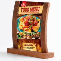 Gewölbter Holz Tischaufsteller mit Acryl-Poster Tasche DIN A5