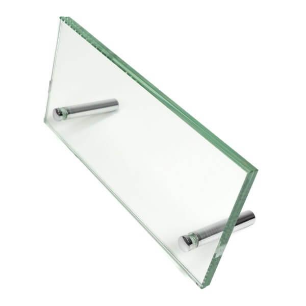 Tischschild aus Glas