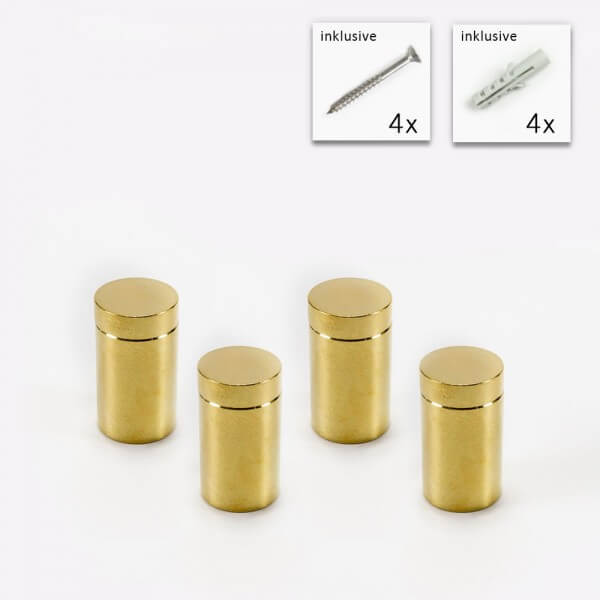 Messing Abstandshalter 13x19 mm, Gold gebürstet im 4 er Set