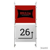 Stangen Befestigungs Set 2 Alu Satiniert mit 150 cm Länge für Schilder