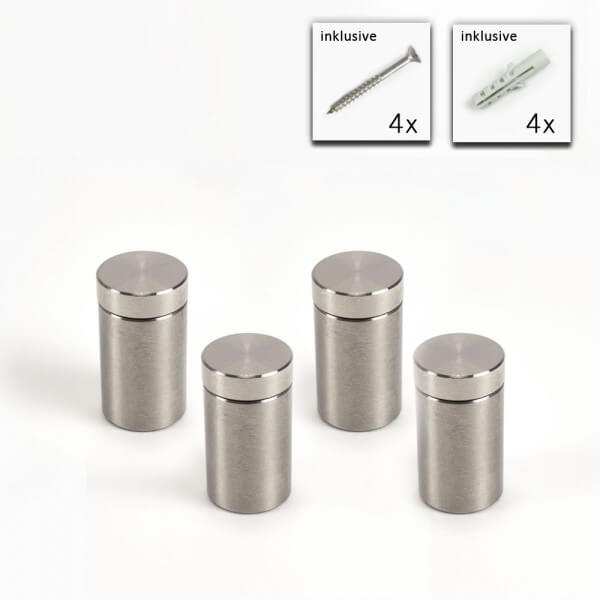 V2A Edelstahl Abstandshalter Schraubbar im Set - 13 x 20 mm