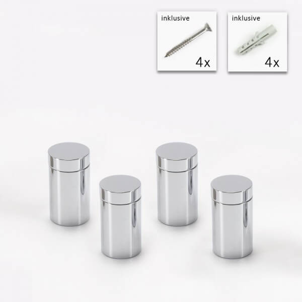 Messing Schildbefestigung 13x19 mm, Chrom im 4er Set